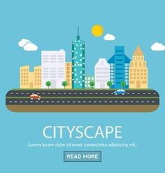 Modern banner set of urban landscape and city life vector