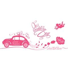 wedding car invitation 380 vector image