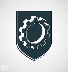 3d gear symbol on shield vector