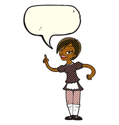 Cartoon waitress taking order with speech bubble vector