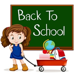 Girl and back to school sign vector