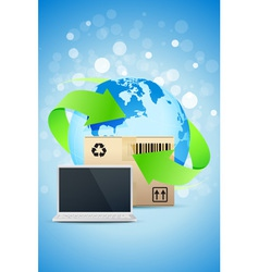 Laptop with earth globe and cardboard box vector