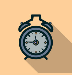 Alarm clock icon with long shadow vector