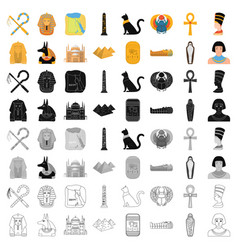 Ancient egypt set icons in cartoon style big vector