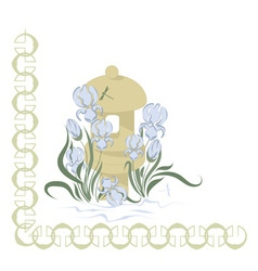 Apanese garden lanterns and irises vector