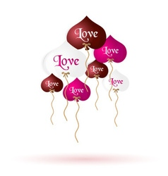 Color helium balloons heart shape with love vector