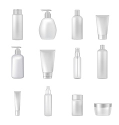 Cosmetics bottles tubes empty clear set vector