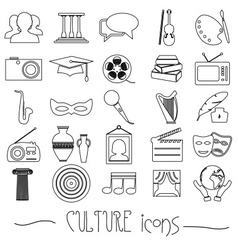 Culture and art theme black simple outline icons vector