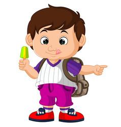 cute boy holding ice cream cartoon vector image vector image