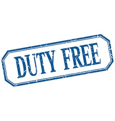 Duty free square blue grunge vintage isolated vector