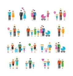 Family flat style icons vector