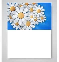 Floral invitation design with paper daisy flowers vector image
