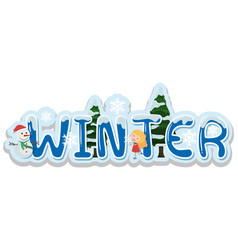 Font design for word winter vector