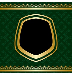 Golden ornament on green ornamental background vector