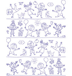 happy kid cartoon doodle drawing like children vector image