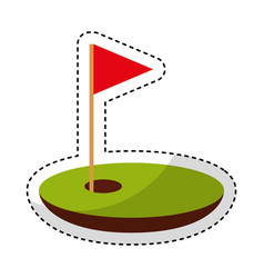 Hole golf with flag vector