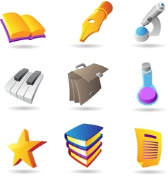 Icons for education and knowledge vector image vector image