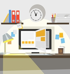 Interior of working place vector