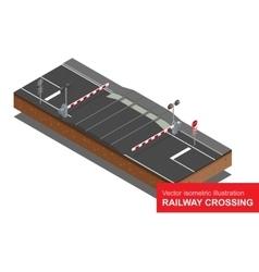 isometric of Railway crossing vector image