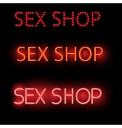 Neon sign - sex shop a bright red billboard vector