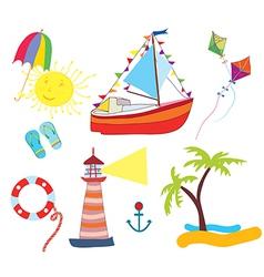 Sea icons set funny vector image