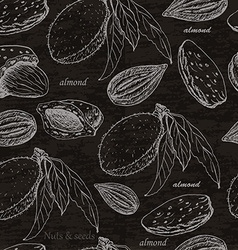 Seamless pattern with almonds on black background vector image