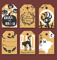 set of happy halloween gift tags vector image vector image