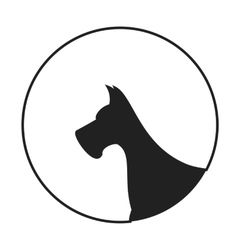 Silhouette of a dog head great dane vector