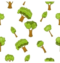 Types of trees pattern cartoon style vector