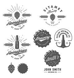 Vintage brewery logos labels and design elements vector image vector image