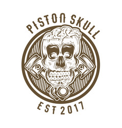 vintage skull with crossed piston vector image