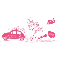 wedding car invitation 380 vector image