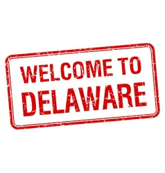 Welcome to delaware red grunge square stamp vector