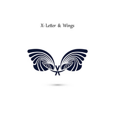 X letter sign and angel wings monogram wing logo vector