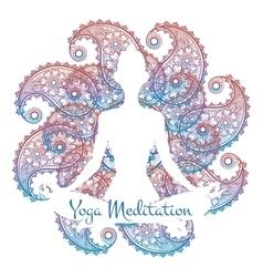 Yoga meditation poster vector image vector image