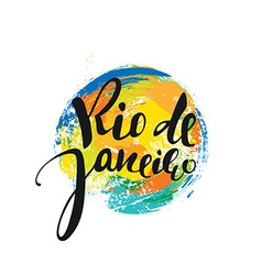 Rio de janeiro inscription background colors of vector