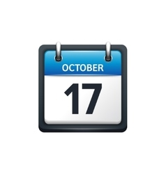 October 17 calendar icon flat vector