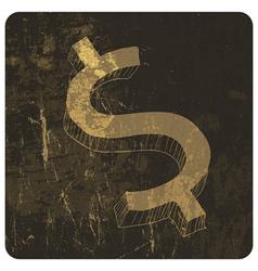 grunge hand drawn dollar sign vector image