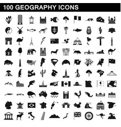 100 geography icons set simple style vector