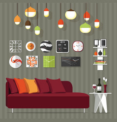 Sofa in livingroom vector