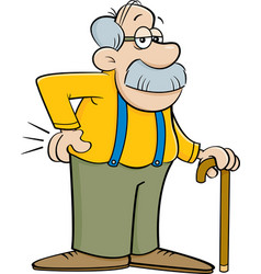 Cartoon old man leaning on a cane vector