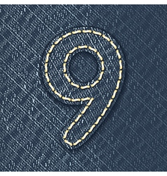 Number 9 made from jeans fabric vector