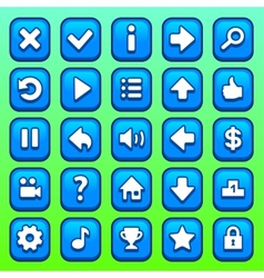 Game blue square buttons set vector