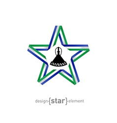 Star with flag of lesotho colors and symbols vector