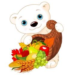 Polar bear holds cornucopia vector