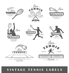 Set of vintage tennis labels vector