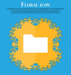 Document folder floral flat design on a blue vector