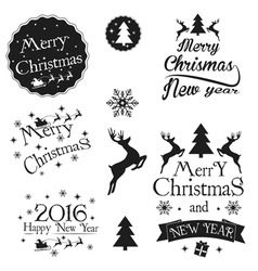 Set of vintage christmas and new year photo overla vector
