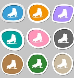 Ice skate symbols multicolored paper stickers vector
