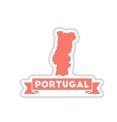 Paper sticker on white background portugal map vector